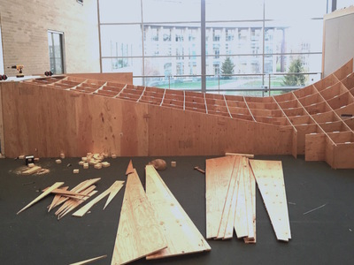 a dance ramp in progress: a 24 foot square dance landscape, made of plywood, in anticipation of Alice Sheppard and Laurel Lawson's visit.